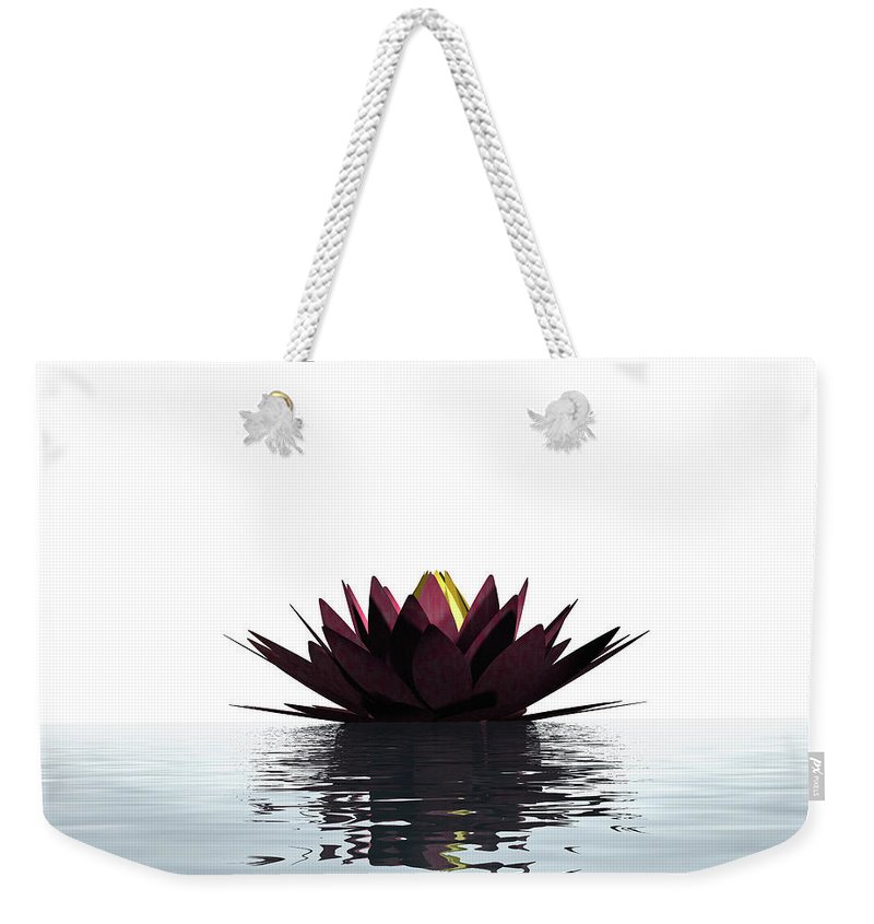 White Background Weekender Tote Bag featuring the photograph Lotus Flower Floating On The Water by Artpartner-images