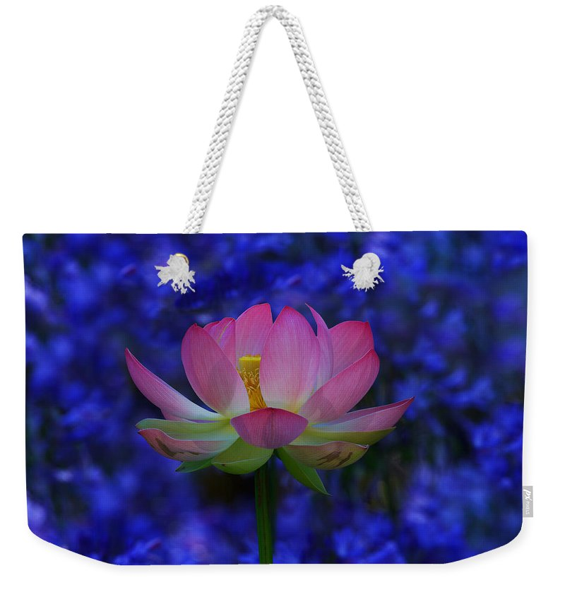 California Weekender Tote Bag featuring the photograph Lotus Flower In Blue by Beth Sargent