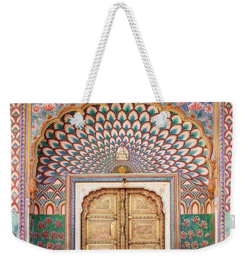 Arch Weekender Tote Bag featuring the photograph Lotus Gate In Jaipur City Palace by Hakat
