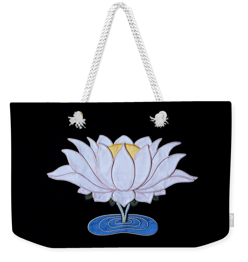 Lotusflower Weekender Tote Bag featuring the tapestry - textile Lotus by Leslie Rinchen-Wongmo