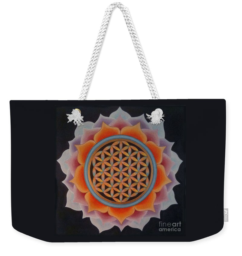 Mandala Weekender Tote Bag featuring the painting Lotus Of Life by Mayki Wiberg