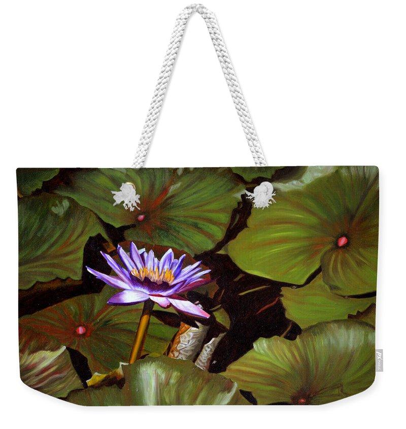 Lotus Weekender Tote Bag featuring the painting Lotus One by Thu Nguyen
