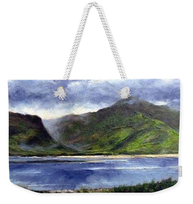 Irish Weekender Tote Bag featuring the painting Loughros Bay Ireland by Jim Gola