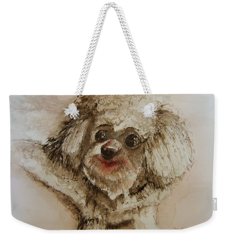 Dog Weekender Tote Bag featuring the painting Louie by Elaine Duras