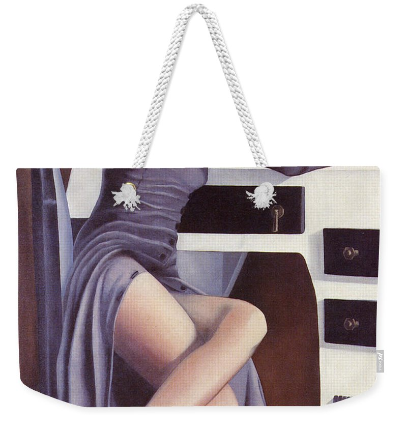 Feminine Weekender Tote Bag featuring the painting Louise by Mary Ann Leitch