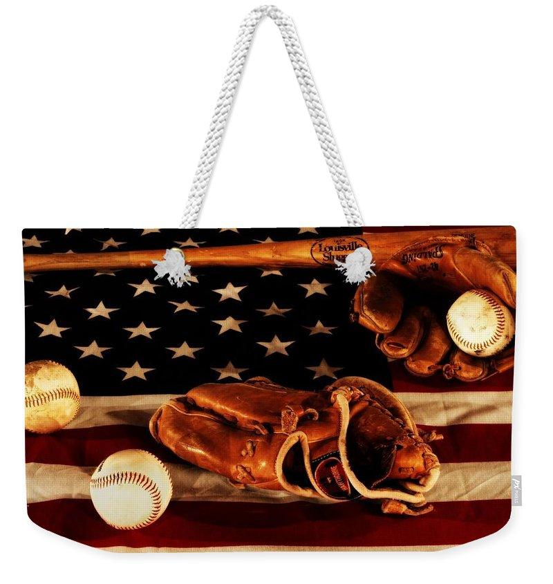 Baseball Gloves Weekender Tote Bags