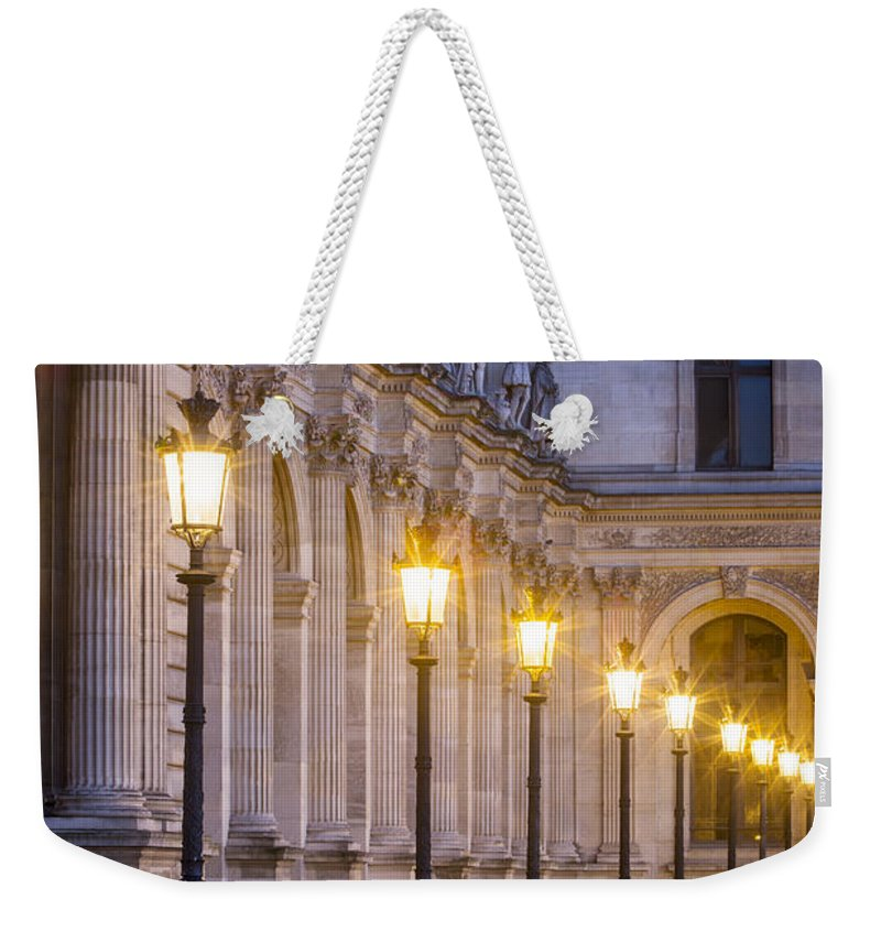 Architectural Weekender Tote Bag featuring the photograph Louvre Lampposts by Brian Jannsen