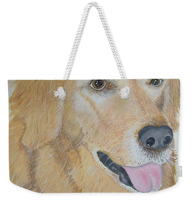 Pet Portrait Weekender Tote Bag featuring the painting Love And Devotion by Norm Starks
