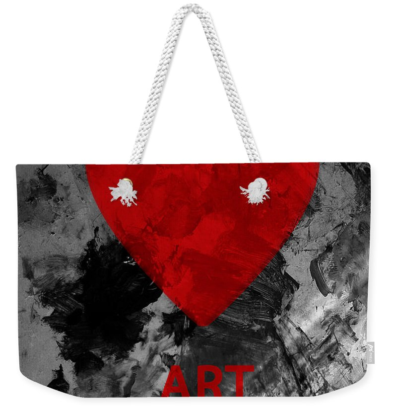 Love Art Weekender Tote Bag featuring the mixed media Love Art 1 by Xueling Zou
