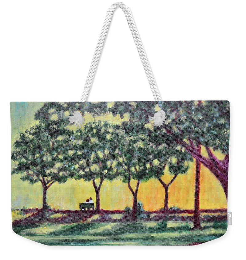Love Weekender Tote Bag featuring the painting Love Bagh by Usha Shantharam