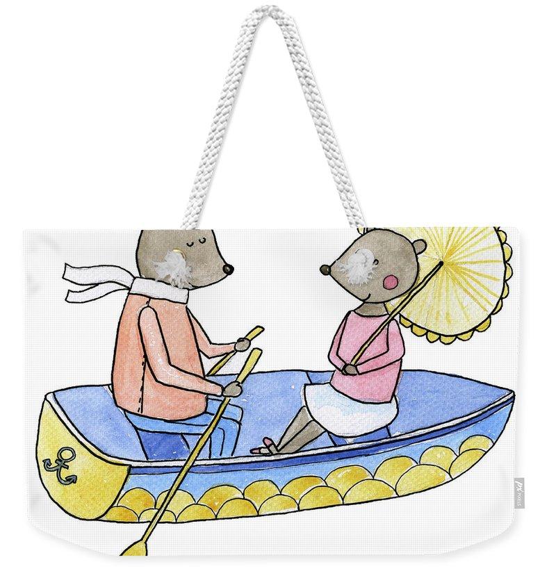 Bridegroom Weekender Tote Bag featuring the digital art Love Boat Watercolor Illustration by Kili-kili
