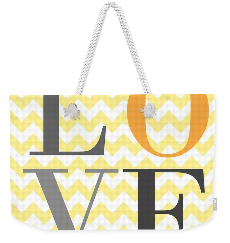Love Weekender Tote Bag featuring the digital art Love Chevron Yellow by Voros Edit