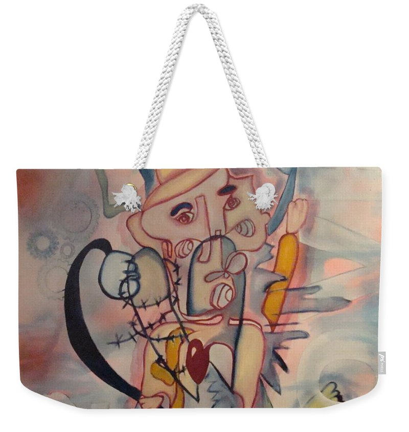 Love Weekender Tote Bag featuring the painting Love Collides by W Todd Durrance