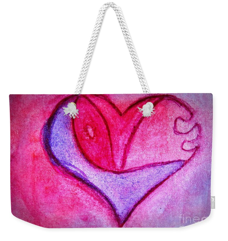 Design Weekender Tote Bag featuring the painting Love Heart 3 by Donna Walsh