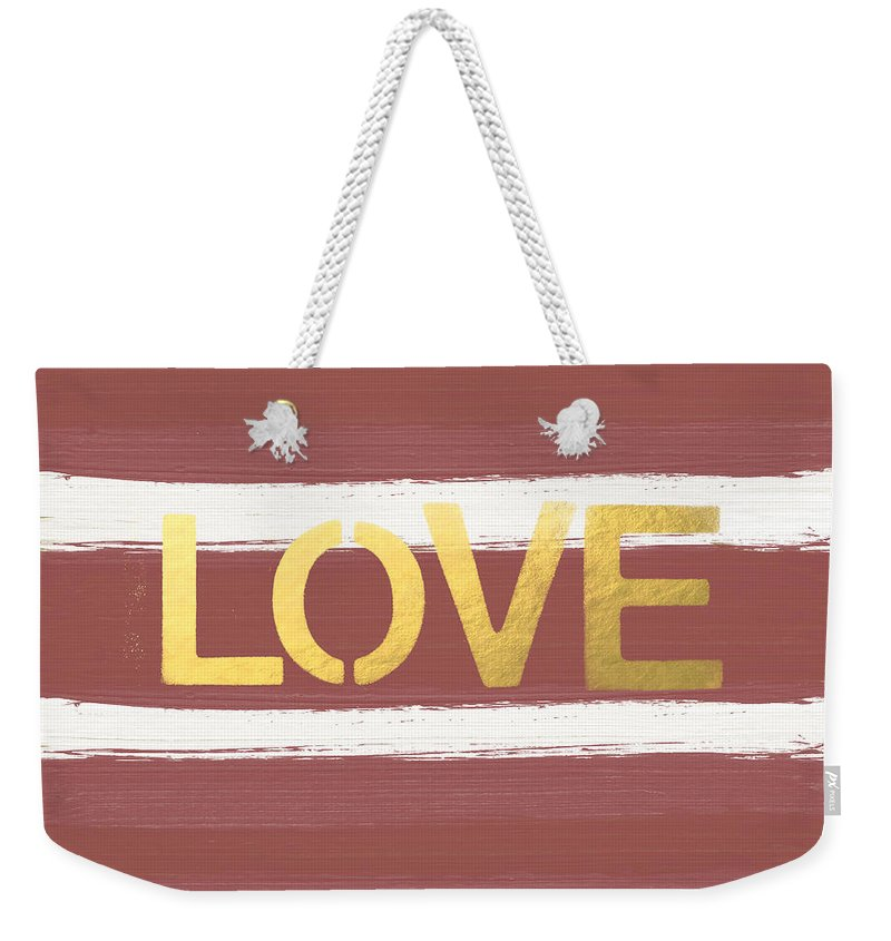 Stripes Weekender Tote Bag featuring the painting Love In Gold And Marsala by Linda Woods