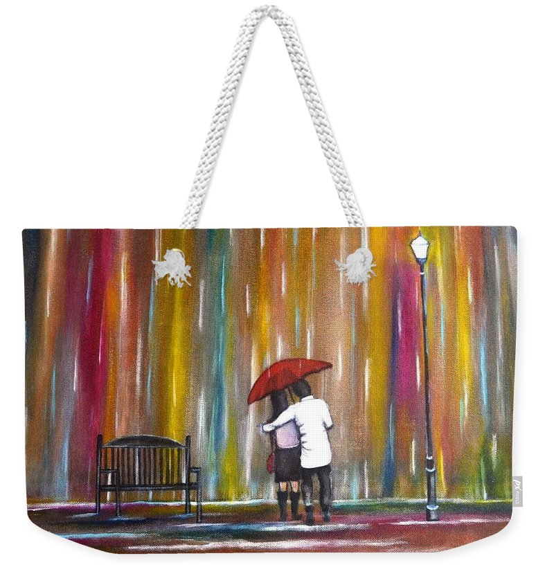 Romance Weekender Tote Bag featuring the photograph Love In The Rain by Manjiri Kanvinde