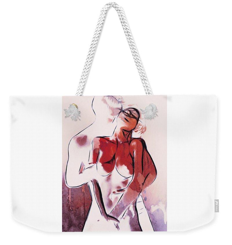 Dark Weekender Tote Bag featuring the painting Love Is Wonderful by Steve K