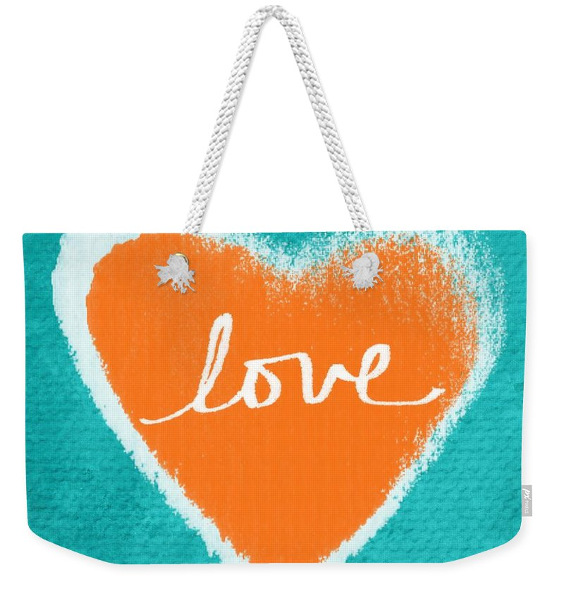 Heart Weekender Tote Bag featuring the mixed media Love by Linda Woods