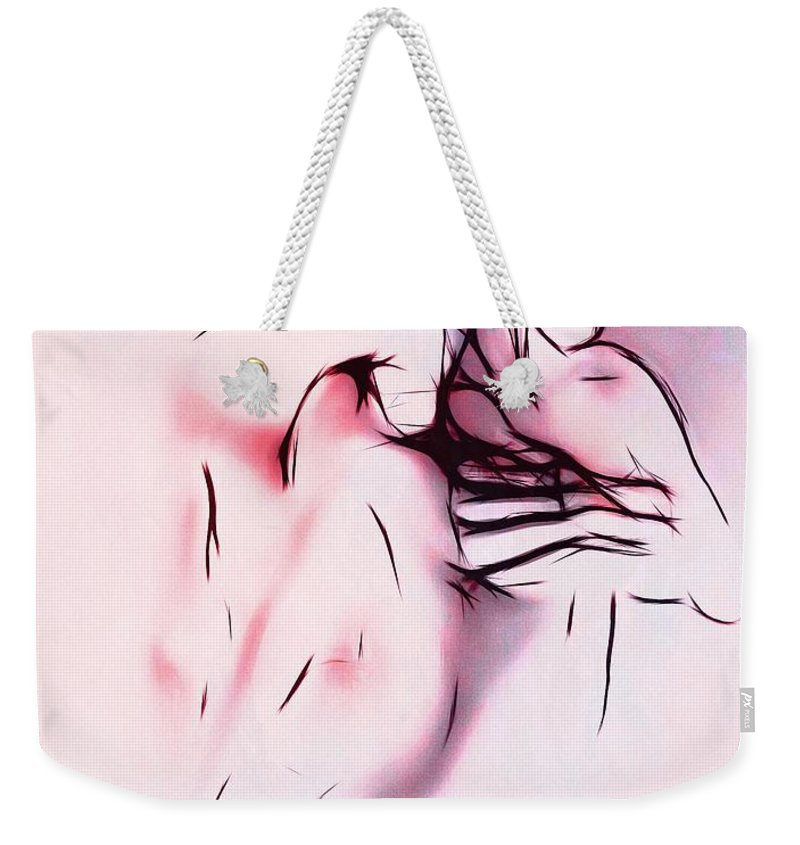 Couple Man Woman Love Lovers Loving Sex Erotic Abstract Expressionism Impressionism Painting Minimalism Color Colorful Nude Naked Weekender Tote Bag featuring the painting Love Me by Steve K