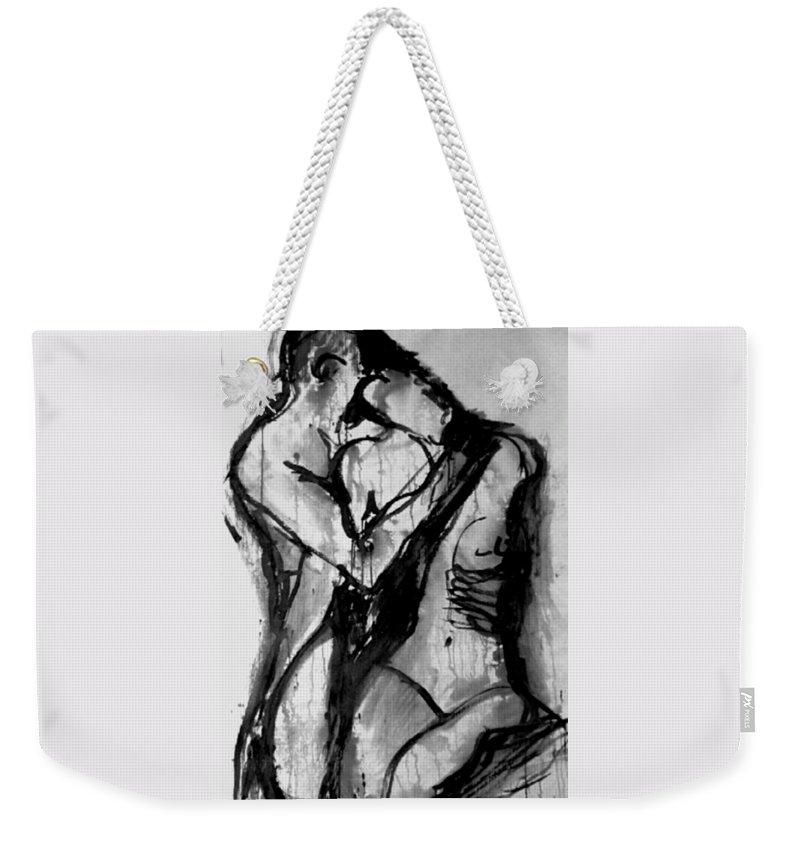 Couple Weekender Tote Bag featuring the painting Love Me Tender by Jarmo Korhonen aka Jarko