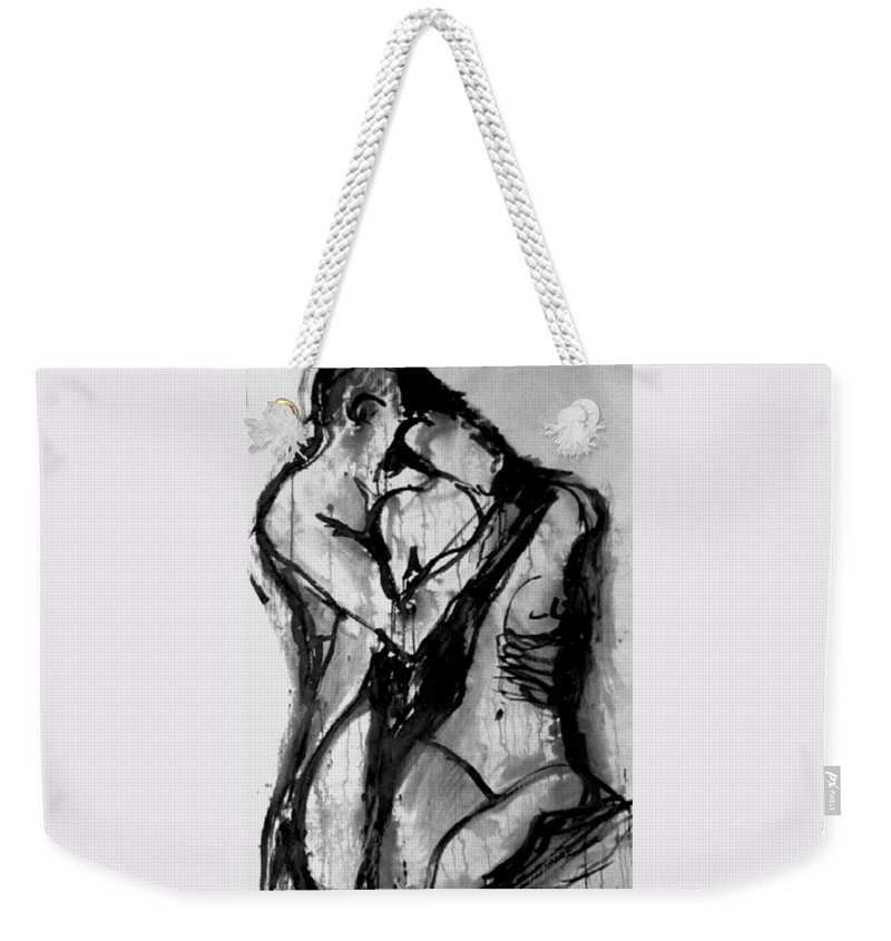 Couple Weekender Tote Bag featuring the painting Love Me Tender by Jarmo Korhonen aka Jarko