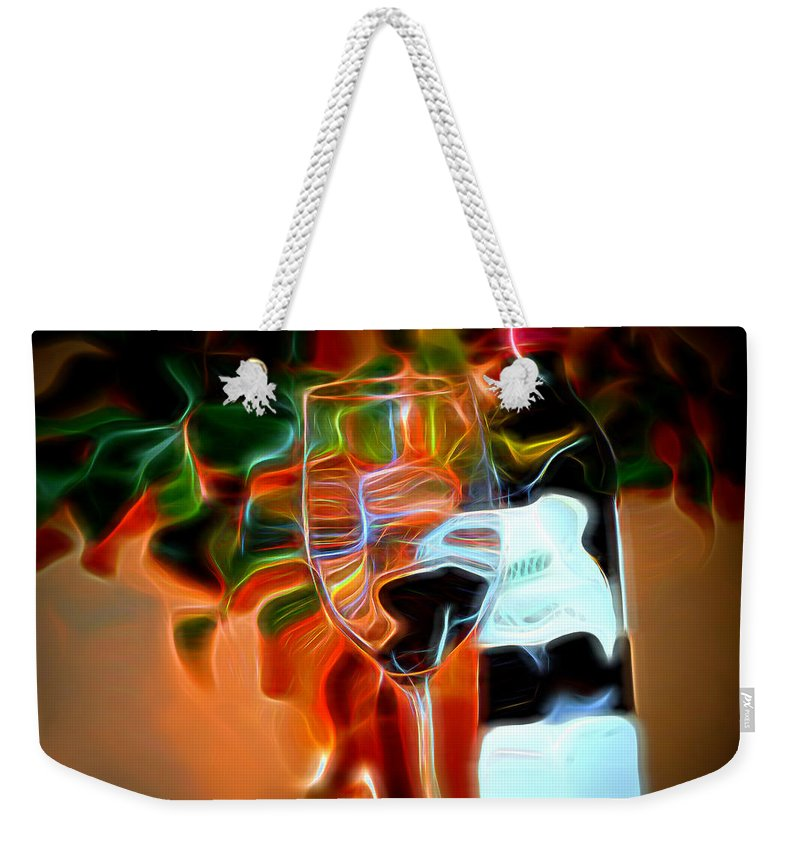 Wine Weekender Tote Bag featuring the photograph Love My Wine - Bright Colours by Pennie McCracken