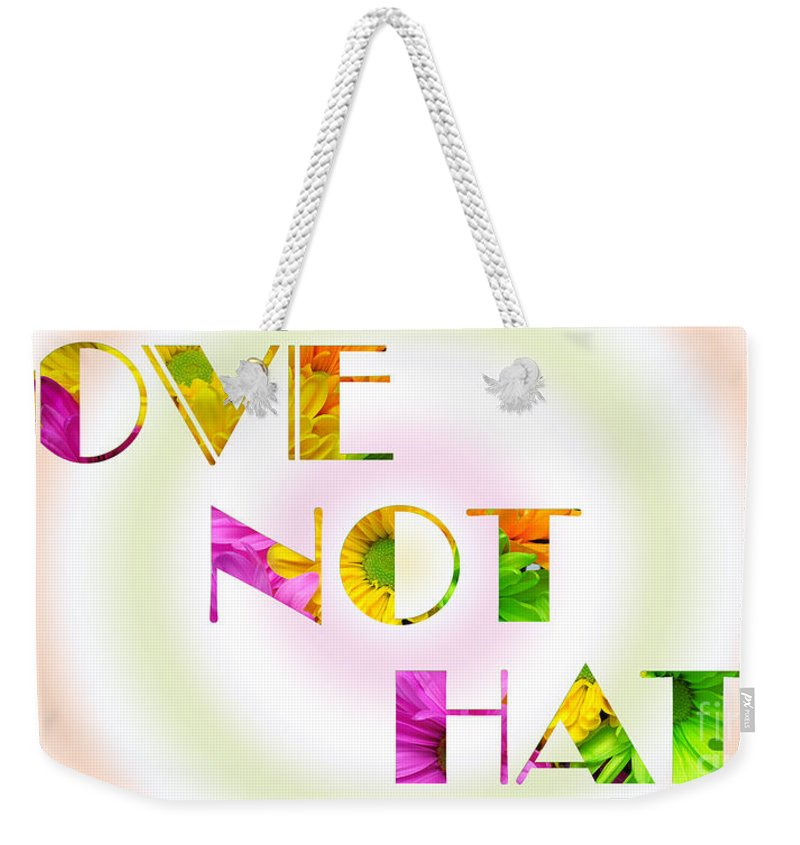 Andee Design Daisy Weekender Tote Bag featuring the photograph Love Not Hate Rainbow Crazy Daisies by Andee Design