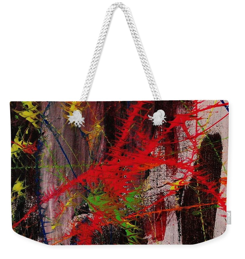Abstract Weekender Tote Bag featuring the painting Love Of Life #7 by Wayne Cantrell
