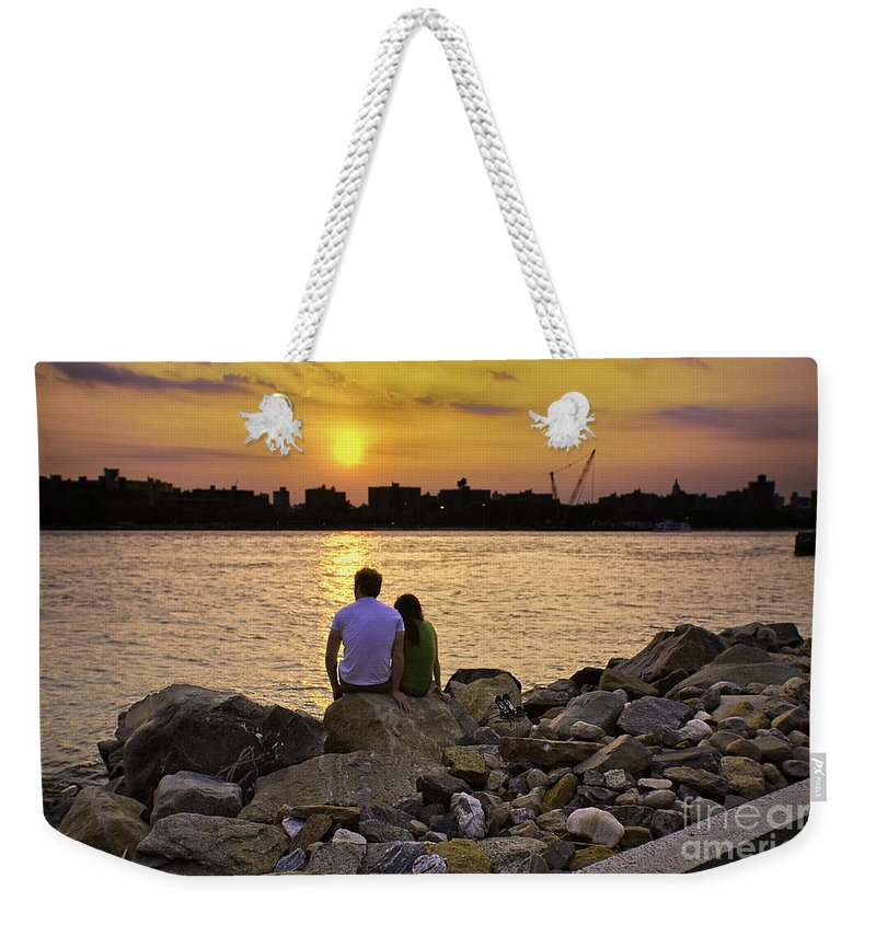 Man Weekender Tote Bag featuring the photograph Love On The Rocks In Brooklyn by Madeline Ellis
