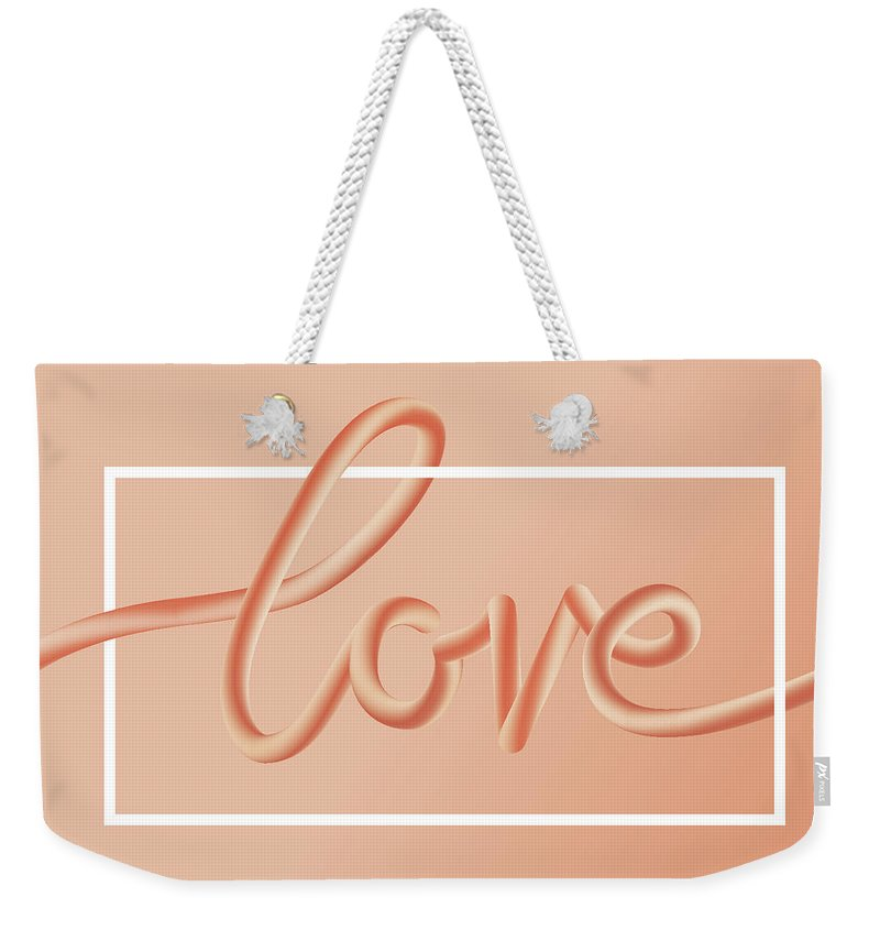 Home Decor Weekender Tote Bag featuring the digital art Love Text Lettering In Red Color by Apagafonova