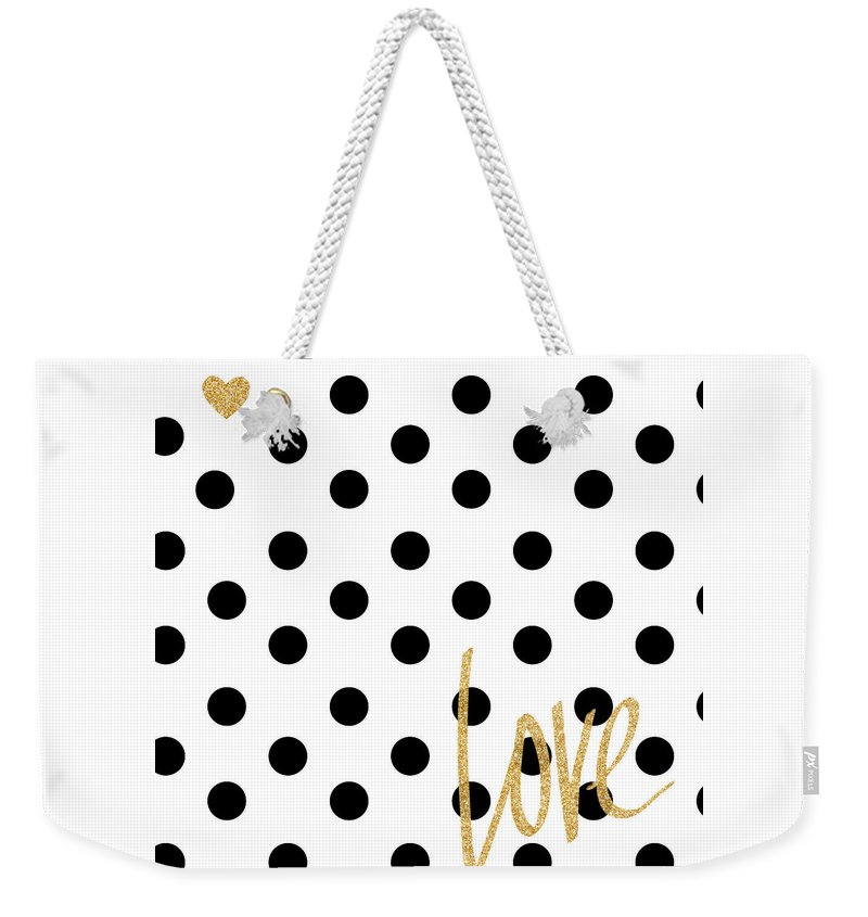 Love Weekender Tote Bag featuring the digital art Love With Dots by South Social Studio
