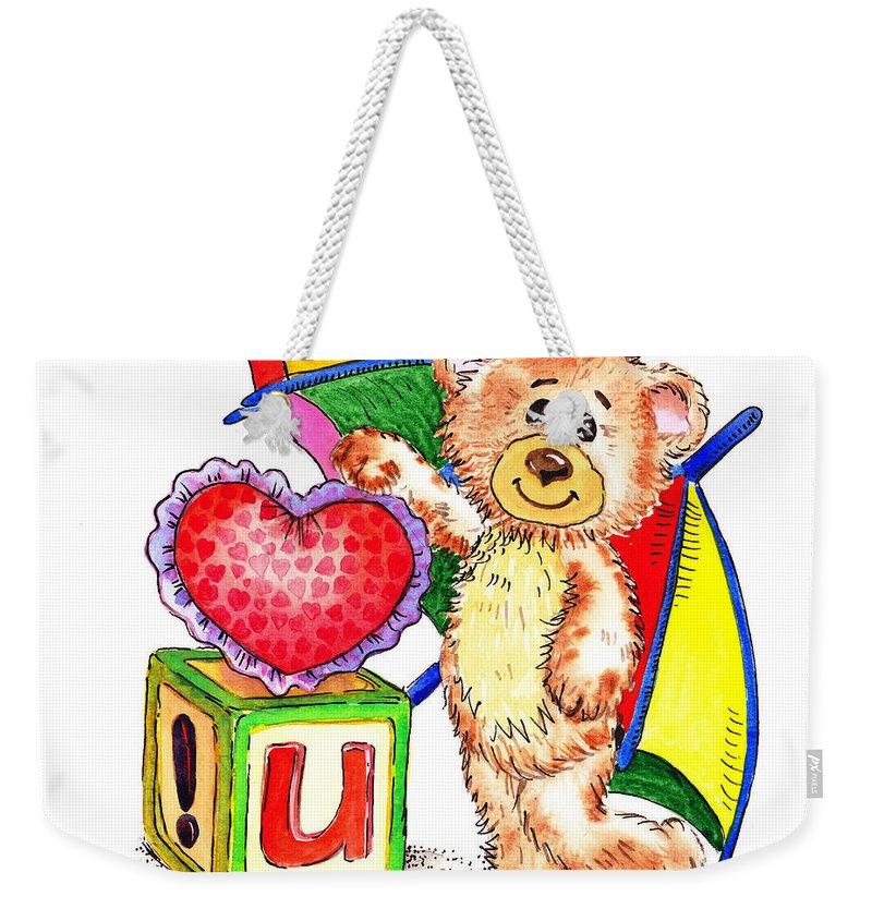 Teddy Weekender Tote Bag featuring the painting Love You Teddy Bear by Irina Sztukowski