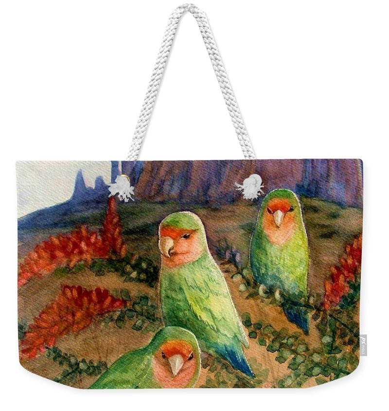 Birds Weekender Tote Bag featuring the painting Lovebirds by Marilyn Smith