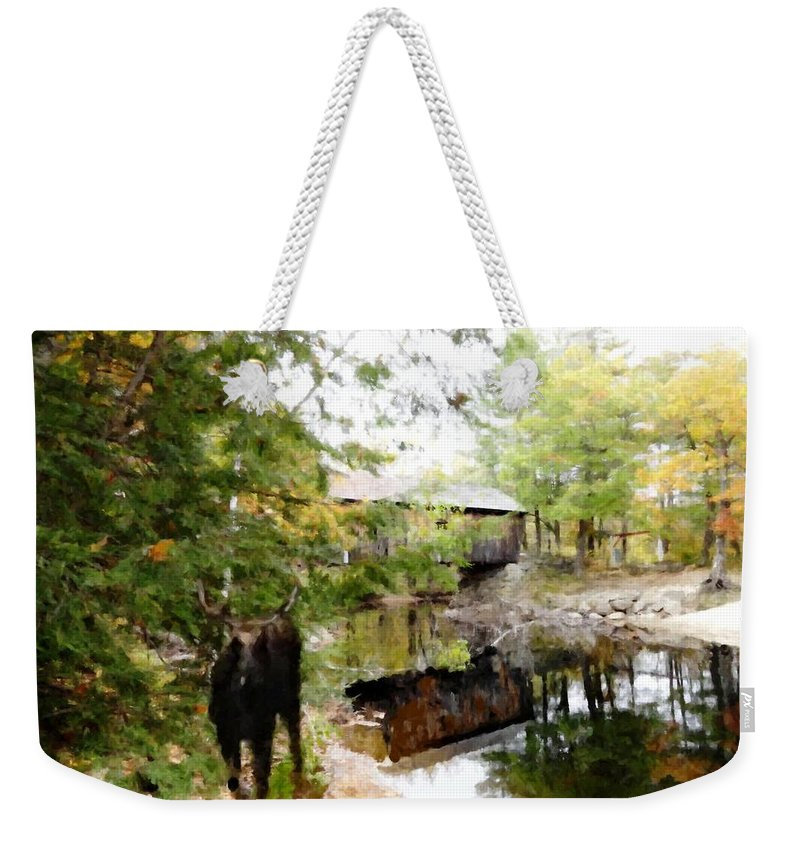Lovejoy Covered Bridge And Moose Weekender Tote Bag featuring the painting Lovejoy Covered Bridge And Moose by Mike Breau