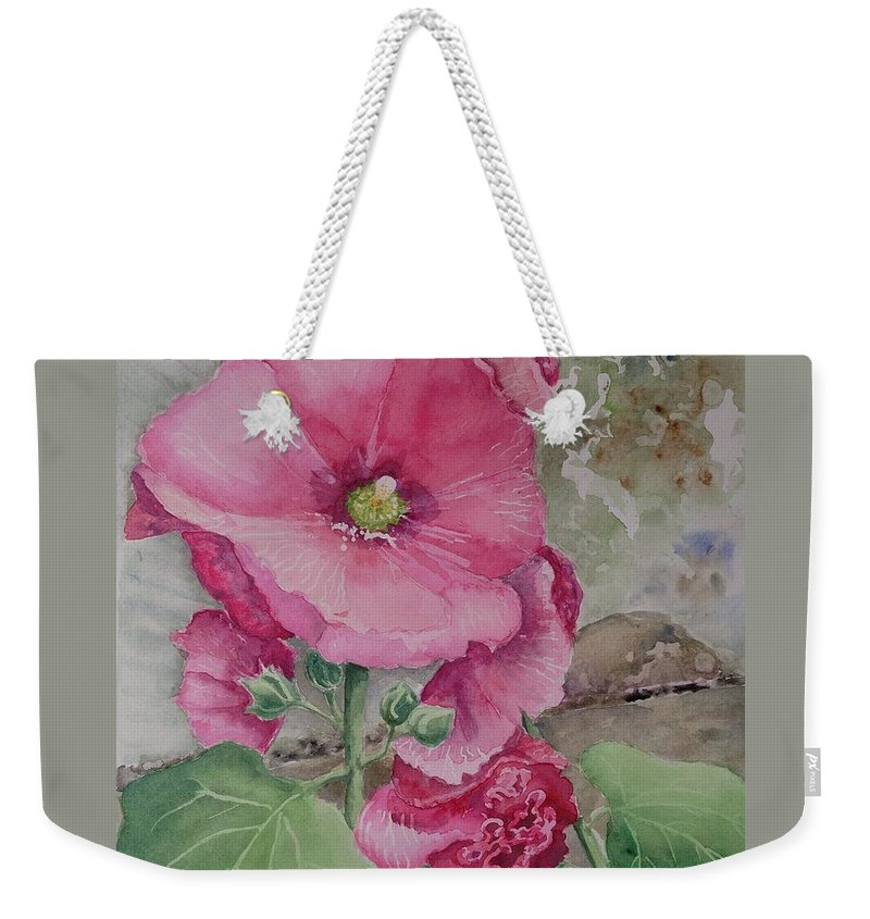 Hollyhocks Weekender Tote Bag featuring the painting Lovely Hollies by Marilyn Zalatan