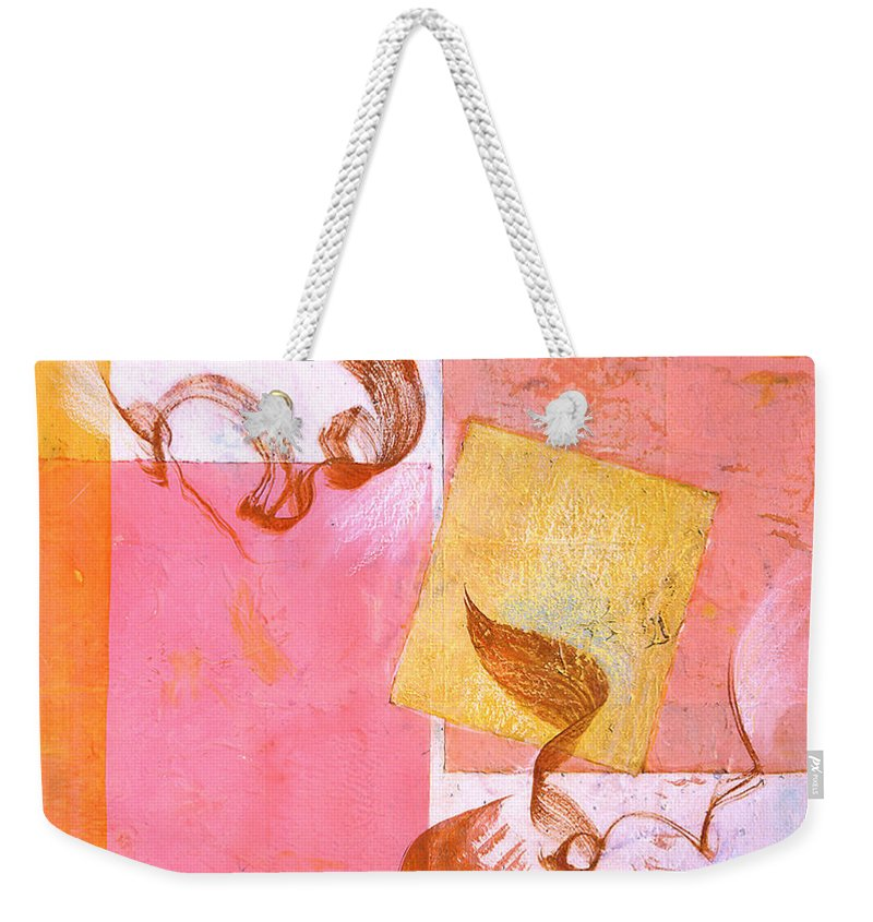 Mixed Media Collage Painting Weekender Tote Bag featuring the painting Lovers Dance 2 In Sienna And Pink by Asha Carolyn Young