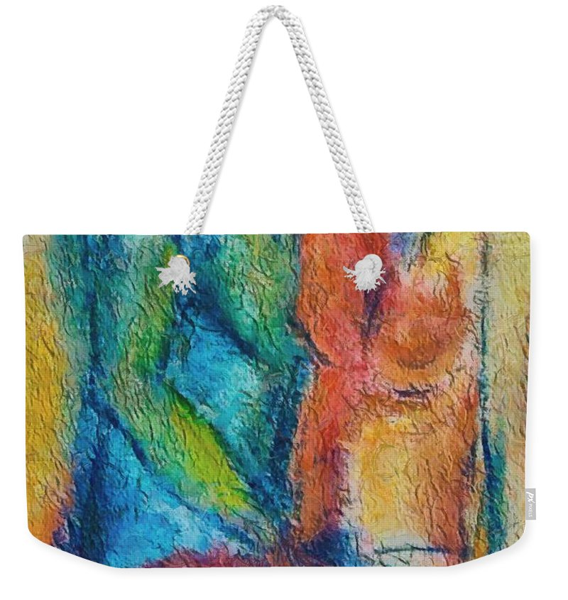 Mixed Media Weekender Tote Bag featuring the painting Lovers by Dragica Micki Fortuna
