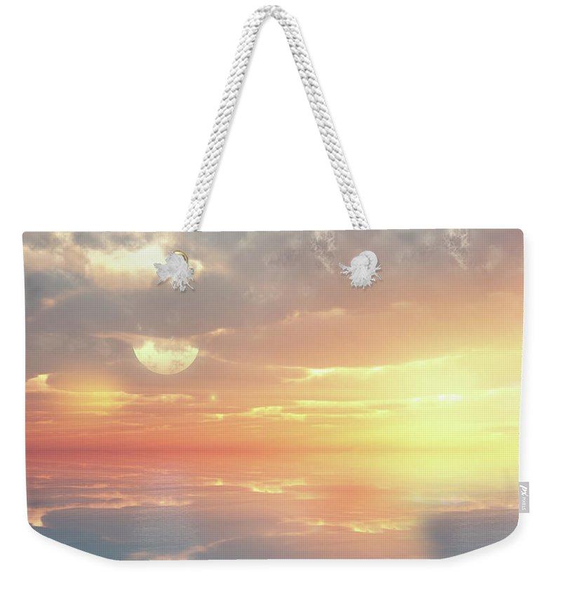 Sunset Weekender Tote Bag featuring the digital art Lovers Ocean by Georgiana Romanovna