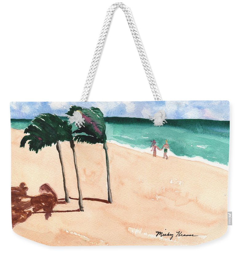 Beach Weekender Tote Bag featuring the painting Lovers On The Beach by Mickey Krause