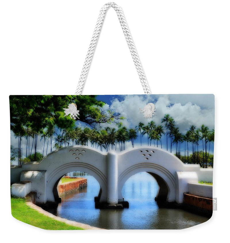 Bridge Weekender Tote Bag featuring the photograph Lover's Pass by Lj Lambert