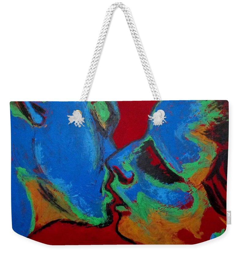 Lovers Tender Kiss Weekender Tote Bag featuring the painting Lovers - Tender Kiss by Carmen Tyrrell
