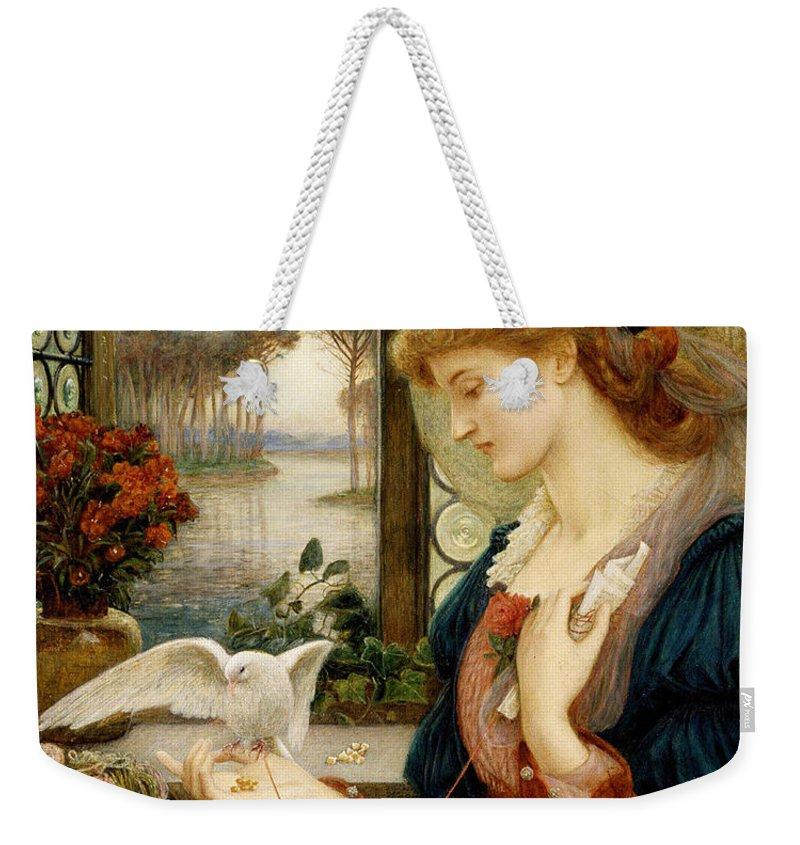 Pre-raphaelite Weekender Tote Bag featuring the painting Loves Messenger by Philip Ralley