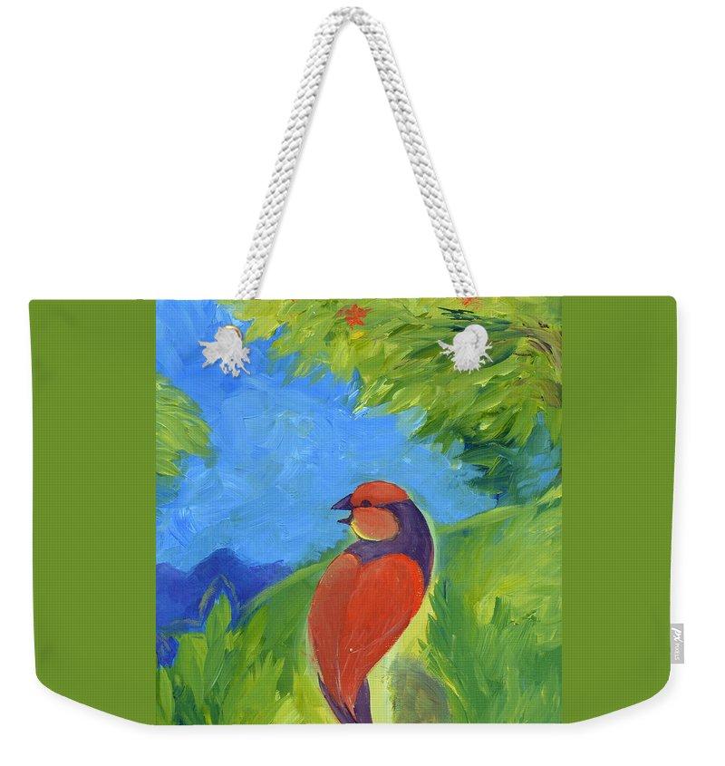 Songbird Weekender Tote Bag featuring the painting Lovesongs by Melissa Peterson