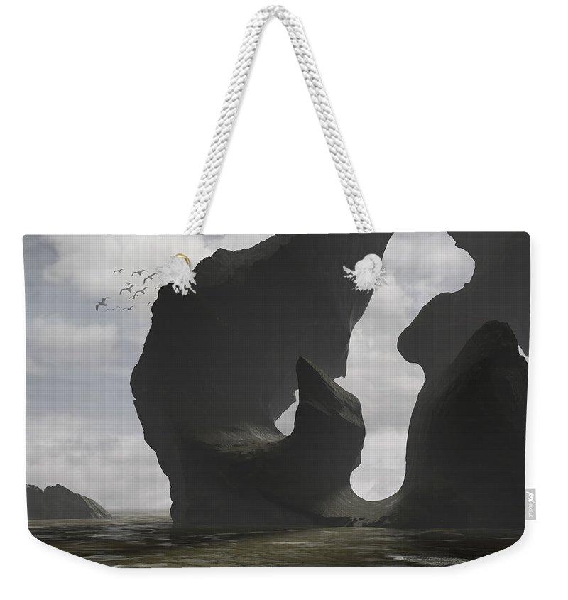 Ocean Weekender Tote Bag featuring the digital art Low Tide by Cynthia Decker