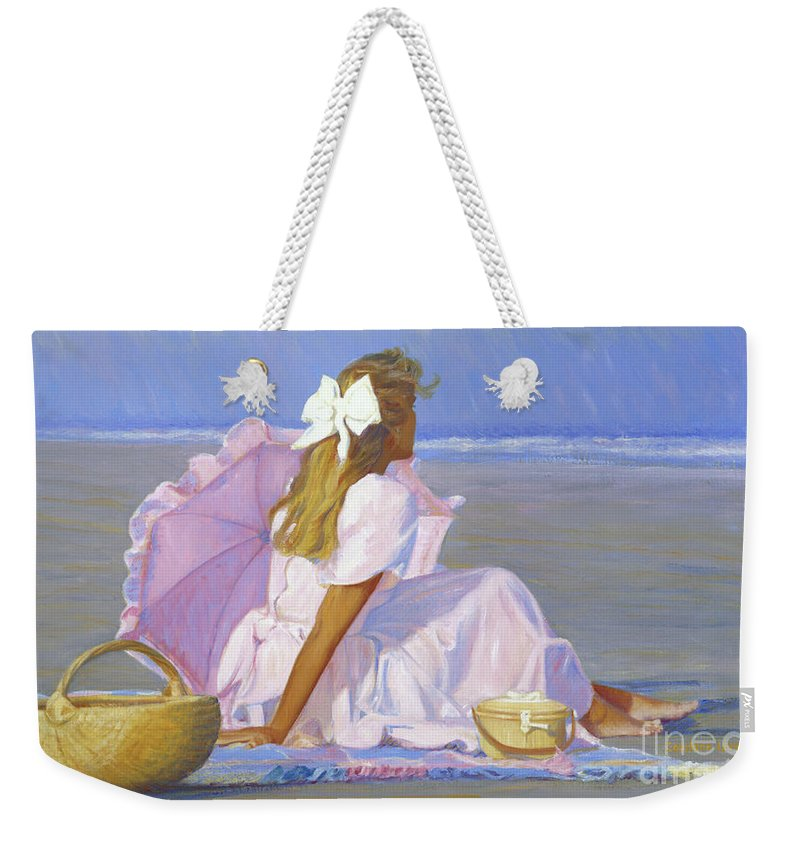 Impressionist Weekender Tote Bag featuring the painting Low Tide Lady by Candace Lovely