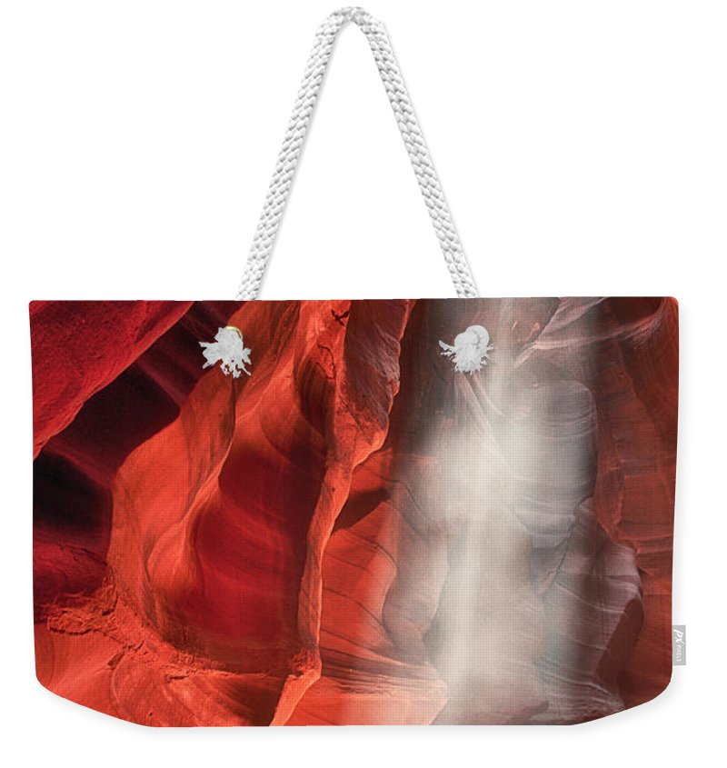 Upper Antelope Slot Canyon Weekender Tote Bag featuring the photograph Upper Antelope Canyon Litebeam by Jerry Fornarotto