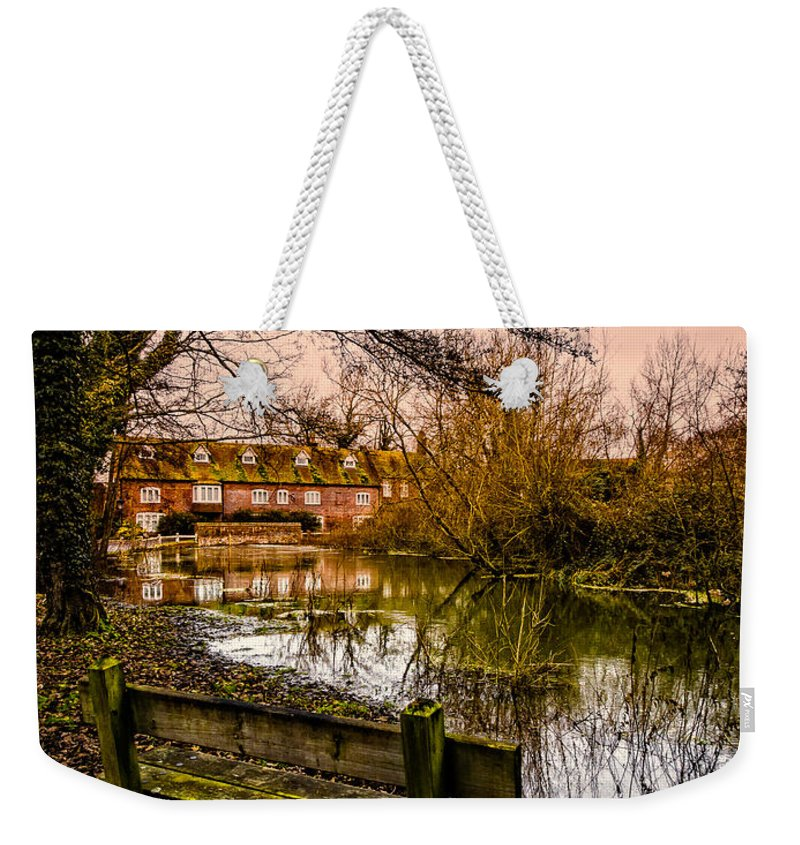 Algae Weekender Tote Bag featuring the photograph Lower Denford Hungerford by Mark Llewellyn