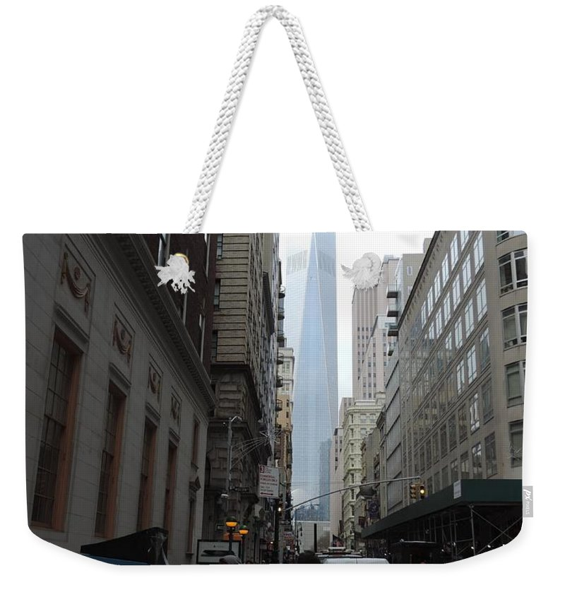World Trade Center Weekender Tote Bag featuring the photograph Lower Manhattan And The New World Trade Center by Doug Swanson