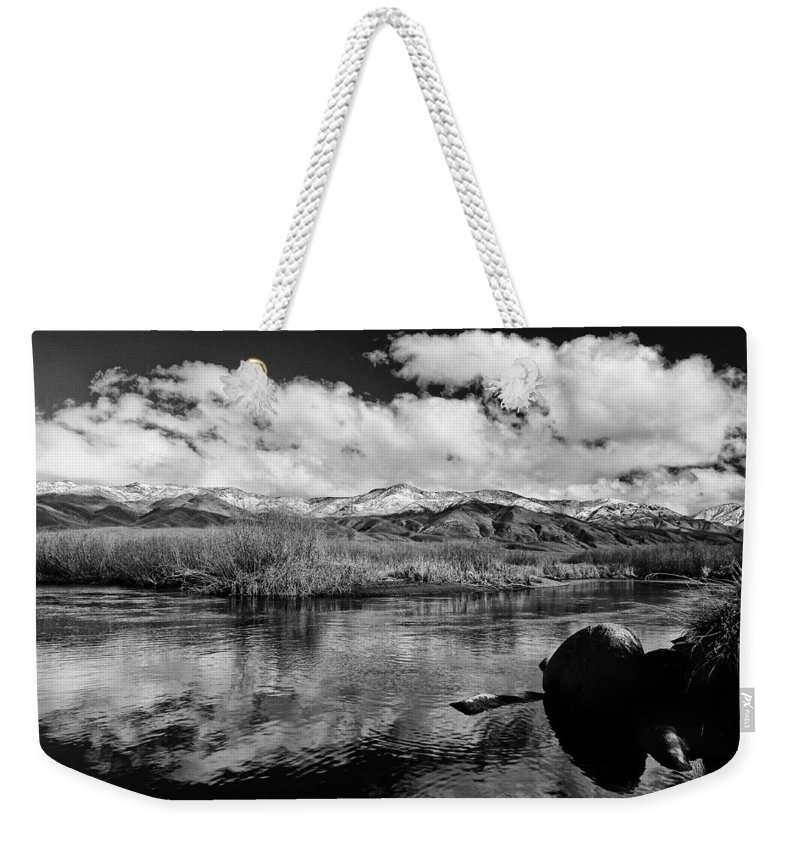 River Weekender Tote Bag featuring the photograph Lower Owens River by Cat Connor