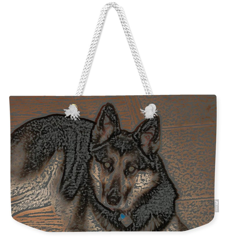 Dog Weekender Tote Bag featuring the digital art Loyalty by Lovina Wright